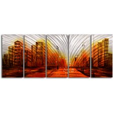"<strong>My Art Outlet</strong> ""Lights From The Stadium"" 5 Piece Contemporary Handmade Metal Wall Art Set"