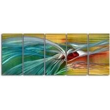 """Push and Pull"" 5 Piece Contemporary Handmade Metal Wall Art Set"
