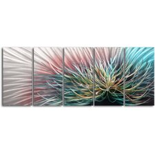"""Circuit Overload"" 5 Piece Contemporary Handmade Metal Wall Art Set"