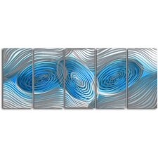 """Decibels Dancing"" 5 Piece Contemporary Handmade Metal Wall Art Set"
