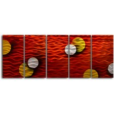 """Sun and Moon Suspended"" 5 Piece Contemporary Handmade Metal Wall Art Set"