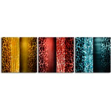 "<strong>My Art Outlet</strong> ""Colored Scarf Themes"" 3 Piece Contemporary Handmade Metal Wall Art Set"