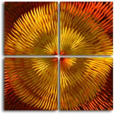 """Radiated Dahlia Desire"" 4 Piece Contemporary Handmade Metal Wall Art Set"