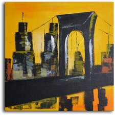 "Hand Painted Modern Oil Painting ""Bridge and Towers"" Canvas Wall Art"