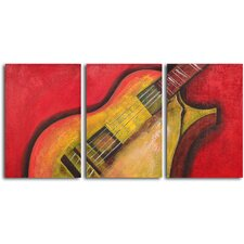 "<strong>My Art Outlet</strong> Hand Painted ""Rouged six string guitar"" 3 Piece Oil Canvas Art Set"