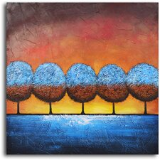 "Hand Painted ""Azure Frosted Trees"" Oil Canvas Art"