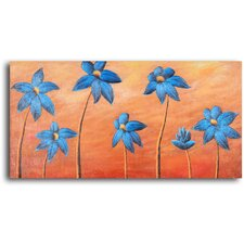 Dancing Blue Daisies Original Painting on Canvas