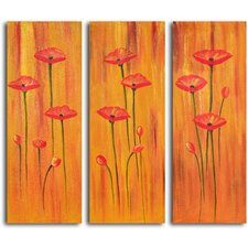 "<strong>My Art Outlet</strong> Hand Painted ""Poppies on Amber"" 3 Piece Oil Canvas Art Set"