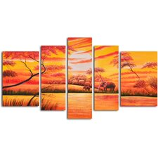 "Hand Painted ""African Sunset"" 5 Piece Oil Canvas Art Set"