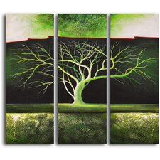 "Hand Painted ""Winter Tree in Green"" 3 Piece Oil Canvas Art Set"