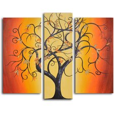 "Hand Painted ""Thai Tree Dance"" 3 Piece Oil Canvas Art Set"