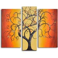 Thai Tree Dance 3 Piece Original Painting on Canvas Set