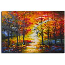 "Hand Painted ""Autumn Path Through Woods"" Oil Canvas Art"