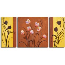 "Hand Painted ""Deco Tulips"" 3 Piece Oil Canvas Art Set"