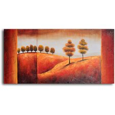 "Hand Painted ""Undulating Hills and Trees"" Oil Canvas Art"
