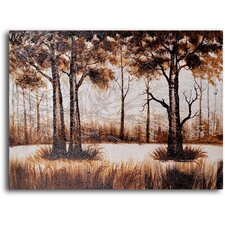 Trees in Sombre Wood Original Painting on Canvas