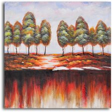 "<strong>My Art Outlet</strong> Hand Painted ""Washed-Out Earth"" Oil Canvas Art"