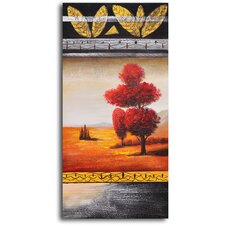 "<strong>My Art Outlet</strong> Hand Painted ""Red Velvet Tree"" Oil Canvas Art"