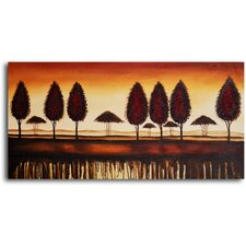 "Hand Painted ""Bronze Tree-Lined Horizon"" Oil Canvas Art"