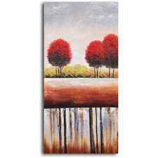 "Hand Painted ""Red Cottonball Trees"" Oil Canvas Art"