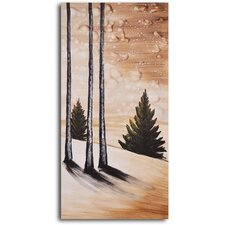 "<strong>My Art Outlet</strong> Hand Painted ""Fir Tree on Snow"" Oil Canvas Art"