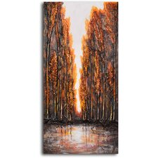 "Hand Painted ""Way Through Wood"" Oil Canvas Art"