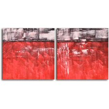 "Hand Painted ""Seeing Red and Black"" 2 Piece Oil Canvas Art Set"