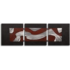 "<strong>My Art Outlet</strong> Handcrafted ""Metal Stream Through Clay"" Metal on Hand Painted Canvas"