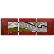 "<strong>My Art Outlet</strong> Handcrafted ""Tar Stream on Metal"" Metal on Hand Painted Canvas"