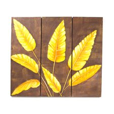 "Hand Painted ""Tropical Leaves"" 3 Piece Oil Canvas Art Set"