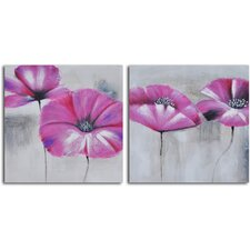 2 Piece ''Pink Poppies in Mist'' Hand Painted Canvas Set