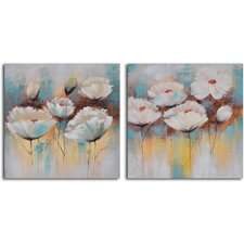 2 Piece ''Powder Puff Poppies'' Hand Painted Canvas Set