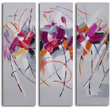 3 Piece ''Fuchsia Frolicking Flower Triptych'' Hand Painted Canvas Set