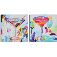 'Confetti Cocktails' 2 Piece Original Painting on Canvas Set