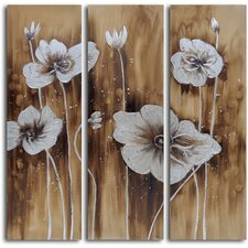 3 Piece ''Muddied Floral March'' Hand Painted Canvas Set