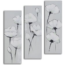 3 Piece ''White on White Poppies'' Hand Painted Canvas Set
