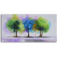 ''Blue and Green Copse'' Hand Painted Canvas Art