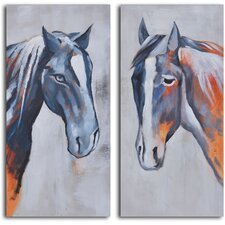 <strong>My Art Outlet</strong> 2 Piece ''Colt and Mare'' Hand Painted Canvas Set