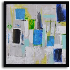 ''City Windows'' Hand Painted Abstract Framed Art