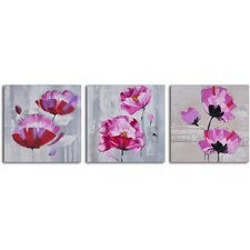 3 Piece ''Pretty in Pink Triptych'' Hand Painted Canvas Set