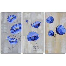 <strong>My Art Outlet</strong> 3 Piece ''Flighty Blue Floral'' Hand Painted Canvas Set