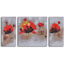 <strong>My Art Outlet</strong> 3 Piece ''Dancing Red Lilies'' Hand Painted Canvas Set
