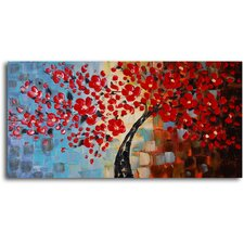 """Bouquet of Textured Red"" Original Painting Canvas Art"