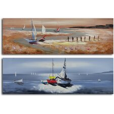 2 Piece ''Duo of Sailboat Seascapes'' Hand Painted Canvas Set