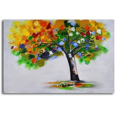 ''Bejeweled Papered Tree'' Hand Painted Canvas Art