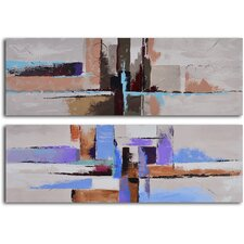 2 Piece ''Urbanization Abstraction'' Hand Painted Canvas Set