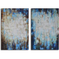 'Through Blues to Light' 2 Piece Original Painting on Canvas Set