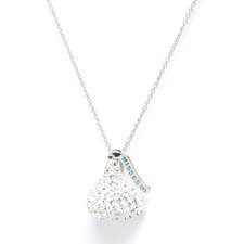 <strong>Hershey's Kiss</strong> Sterling silver & White Crystals Medium Flat Back Chocolate's Kiss Pendant
