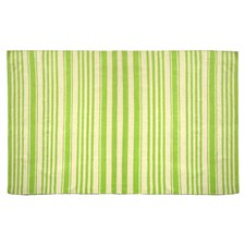 Chenille Green Striped Rug