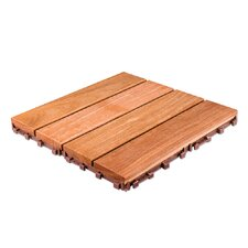"Brazilian Hardwood 11.6"" x 11.6"" Interlocking Deck Tiles in Copacabana Ipe Champagne"